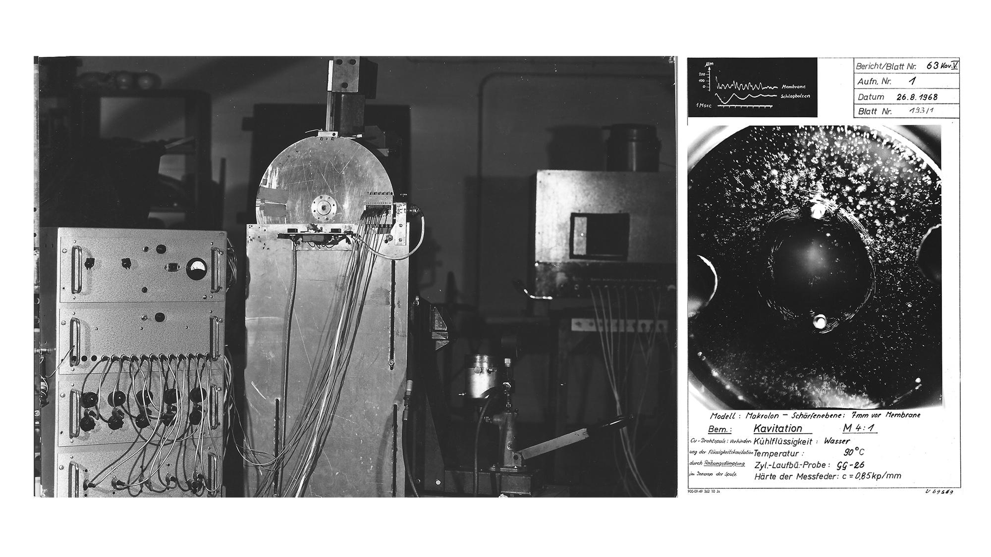Versuchsaufbau für fotografische Dokumentation in Wankelmotoren 1968