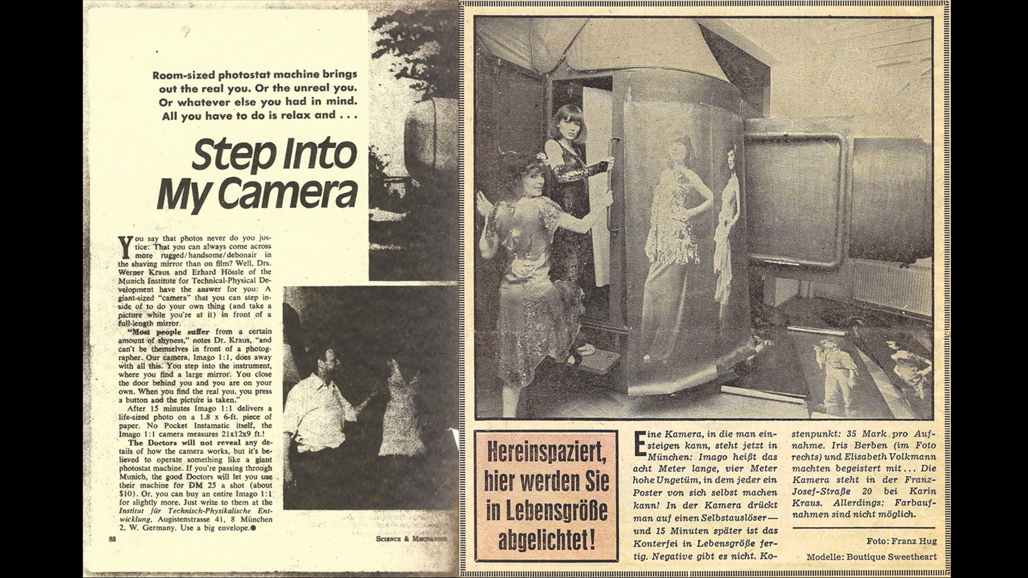 Iris Berben in der IMAGO Camera, AZ 1974